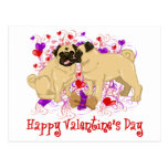 Happy Valentine Pug Kissing Tees Post Cards