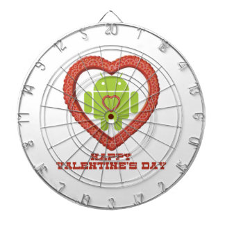 Happy Valentine s Day Bug Droid Two Hearts Dartboard With Darts