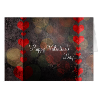Happy Valentine s Day Card Retro Hearts Red Brown