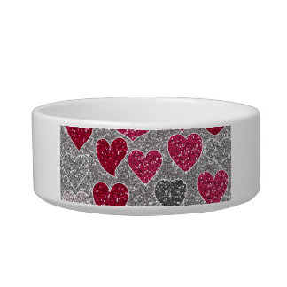 Happy Valentine s Day Glitter Love Bling Hearts Pet Water Bowls