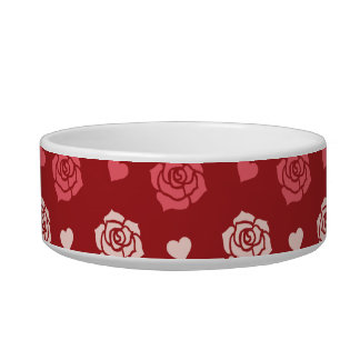 Happy Valentine s Day Hearts and Flowers Red Pink Cat Bowl