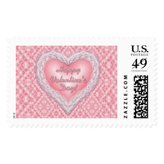 Happy Valentine's Day pink lace heart Postage