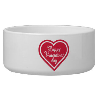 Happy Valentine s day red heart Dog Food Bowls