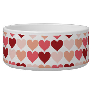 Happy Valentine s Day Red Pink Hearts Pattern Pet Water Bowl