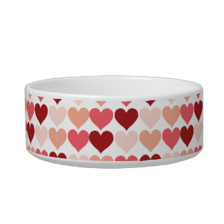 Happy Valentine s Day Red Pink Hearts Pattern Cat Bowls