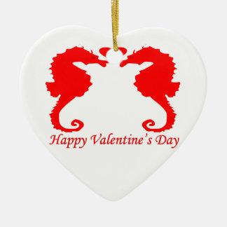Happy Valentine Seahorse and Heart Ceramic Ornament
