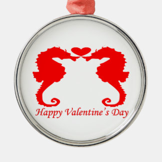Happy Valentine Seahorse and Heart Metal Ornament