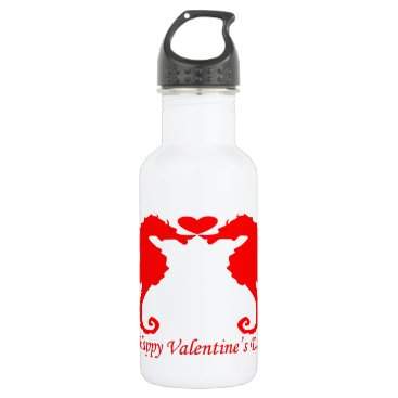 Beach Themed Happy Valentine Seahorse and Heart Water Bottle