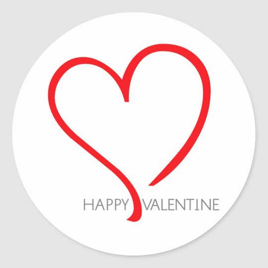 Happy valentine with red heart classic round sticker