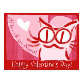 Happy Valentine's Cat Postcard