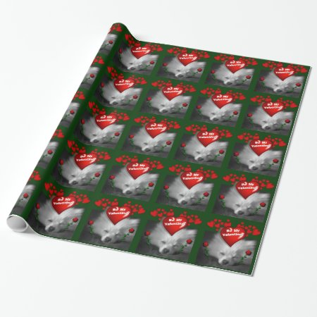 Happy Valentines Cute Pomeranian, Hearts and Roses Wrapping Paper