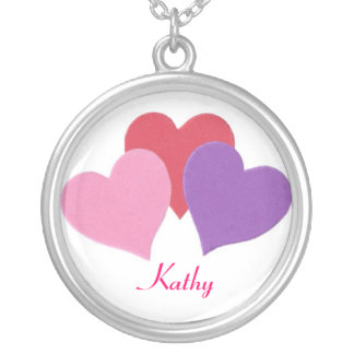 Happy Valentine's Day 3 Hearts Necklace