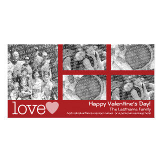 Happy Valentines Day - 5 photo collage Photo Card