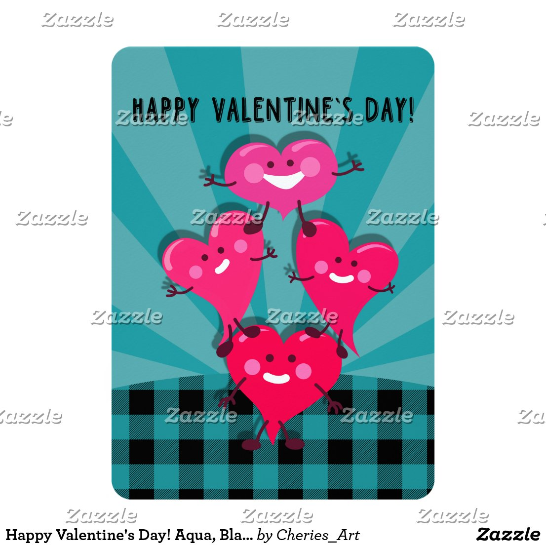 Happy Valentine's Day! Aqua, Black Buffalo Plaid Card