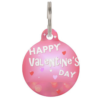 Happy Valentine's day background Pet ID Tag