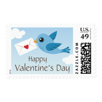 Happy valentines day bird with love letter postage