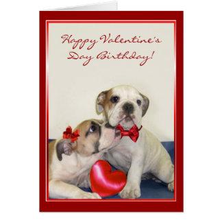 Happy Valentine's Day Birthday Bulldog card