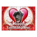 Happy Valentines Day Black Lab Greeting Card