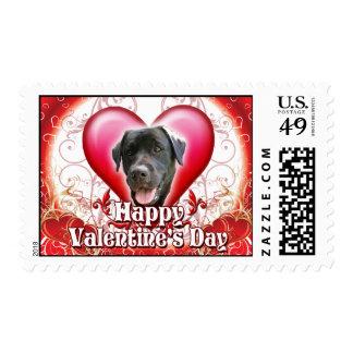 Happy Valentines Day Black Lab Postage Stamps