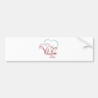 Happy Valentines Day Blue Pink Joined Hearts Car Bumper Sticker