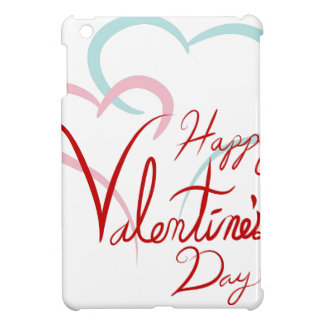 Happy Valentines Day Blue Pink Joined Hearts Case For The iPad Mini