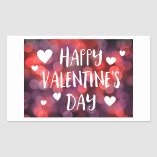 happy valentines day bokeh rectangular sticker