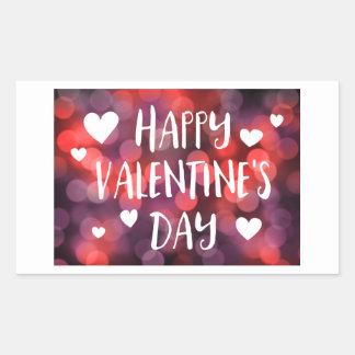 happy valentines day bokeh rectangular sticker