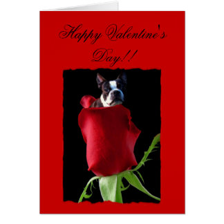 Happy Valentineu0026#39;s Day Boston Terrier Greeting Card