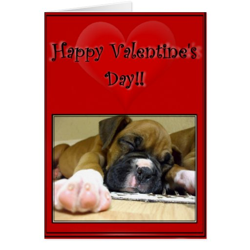 Happy Valentine's Day Boxer puppy Greeting Cards
