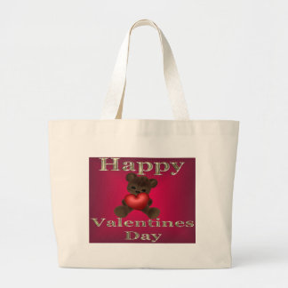 happy valentines day brown large tote bag