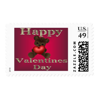 happy valentines day brown postage stamps