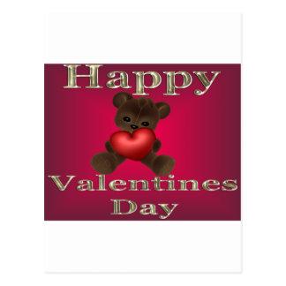 happy valentines day brown postcard