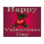 happy valentines day brown postcards
