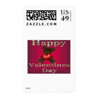 happy valentines day brown stamps