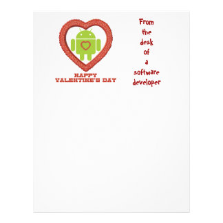 Happy Valentine's Day (Bug Droid Two Hearts) Letterhead