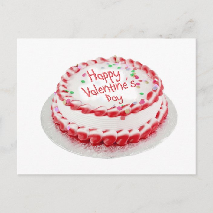 Groovy Happy Valentines Day Cake Holiday Postcard Zazzle Com Funny Birthday Cards Online Inifofree Goldxyz