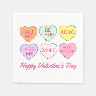 Happy Valentine's Day Candy Conversation Hearts Paper Napkin