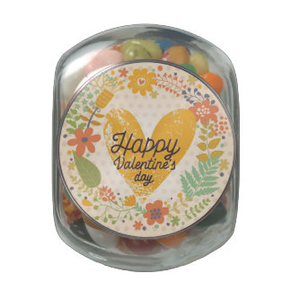 Happy Valentine's Day Card in Bright Colors Glass Candy Jars