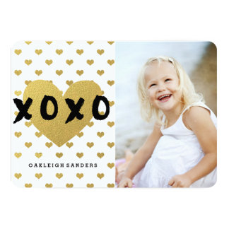 Happy Valentine's Day Card with Gold Hearts
