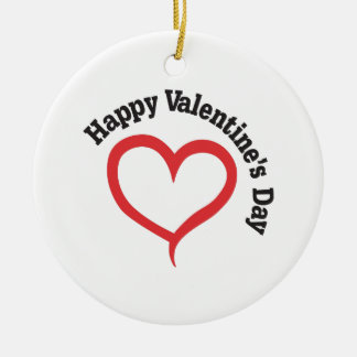 Happy Valentines Day Ceramic Ornament