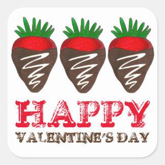 Happy Valentine's Day Chocolate Strawberry Sticker
