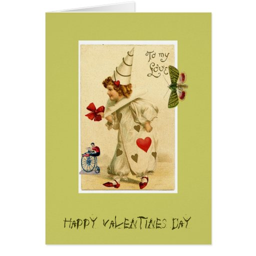 Happy Valentines Day Clown Note Card