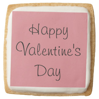 Happy Valentine's Day Cookies Square Premium Shortbread Cookie