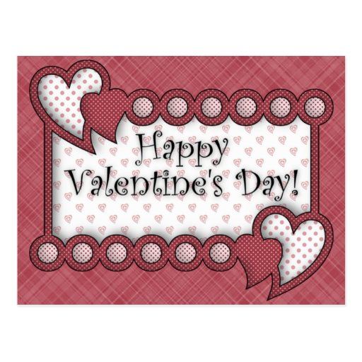 Happy Valentine's Day Country Border Postcard | Zazzle