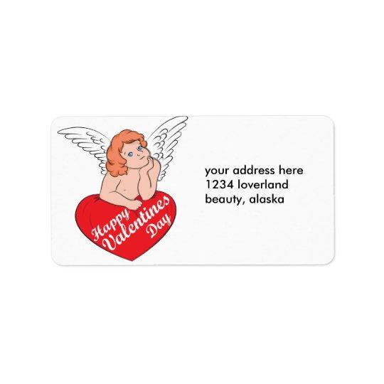 Happy Valentines Day Cupid Label