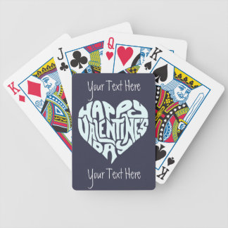 Happy Valentines Day Custom Gift Typography Heart Bicycle Playing Cards