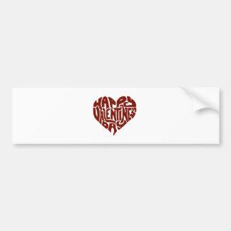 Happy Valentines Day Custom Gift Typography Heart Bumper Sticker