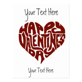 Happy Valentines Day Custom Gift Typography Heart Postcard