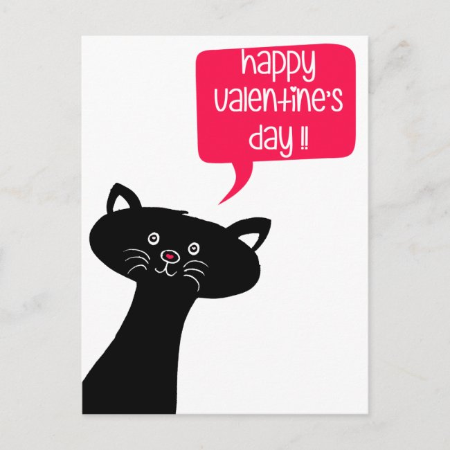 Happy Valentine's Day! Cute Black Cat Postcard