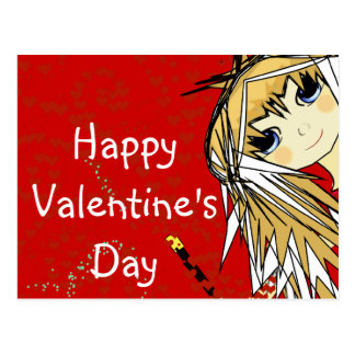 Happy Valentine's Day- Cute Girl Postcard